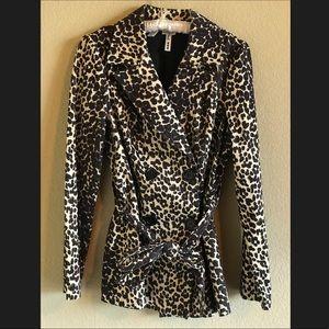 Leopard Print Trench Coat NWOT